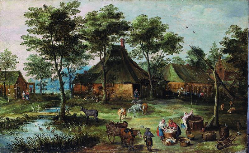 Йоос де Момпер Младший и Ян Брейгель Младший - Деревенский пейзаж с колодцем
