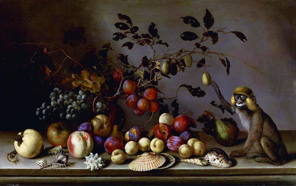 Балтасар ван дер Аст при участии Йоханнеса Баумана - Натюрморт с фруктами, раковинами и обезьянкой