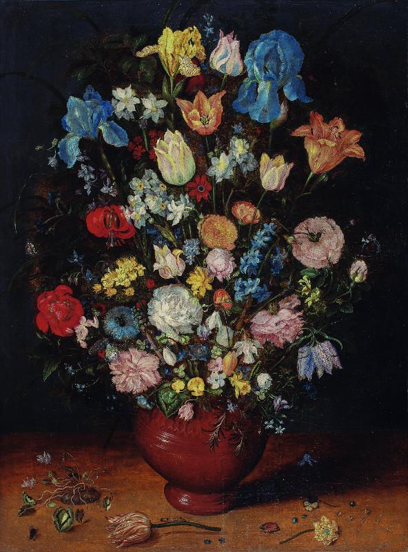 Ян Брейгель Старший - Букет из ирисов, тюльпанов, роз, нарциссов и рябчиков в глиняной вазе