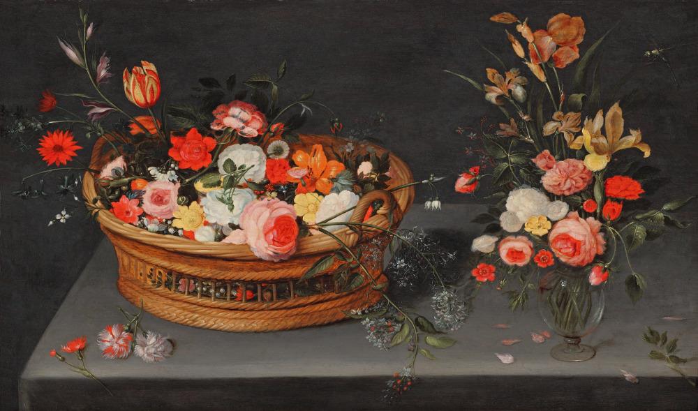 Ян Брейгель Младший при участии мастерской - Корзина с цветами и букет в вазе