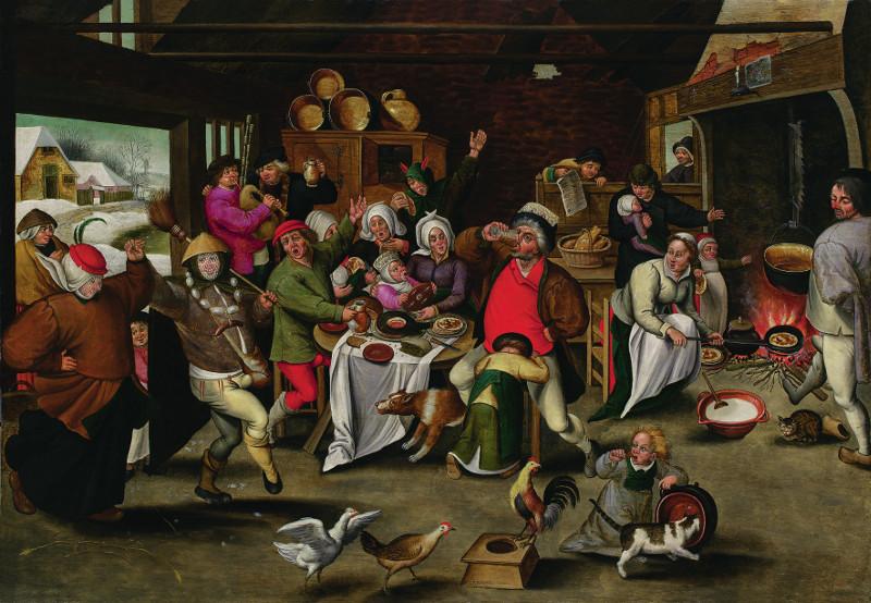 Питер Брейгель Младший - Бобовый король (Король пьёт!) 1620
