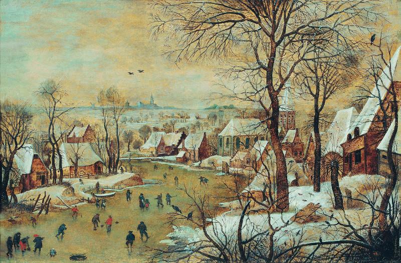Питер Брейгель Младший и его мастерская - Зимний пейзаж с ловушкой для птиц