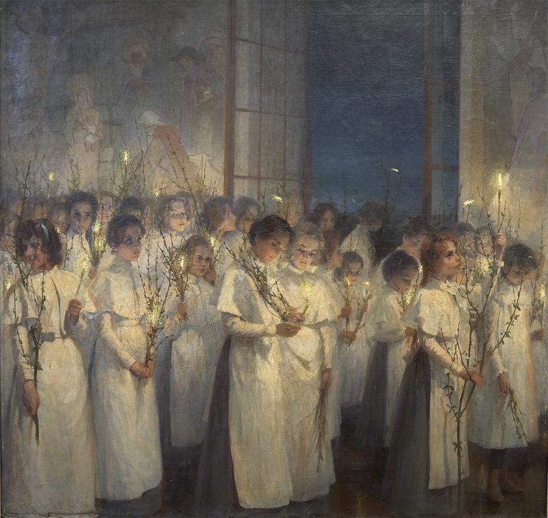 Блонская Серафима Иасоновна (1870-1947) Девочки. Вербное воскресенье.