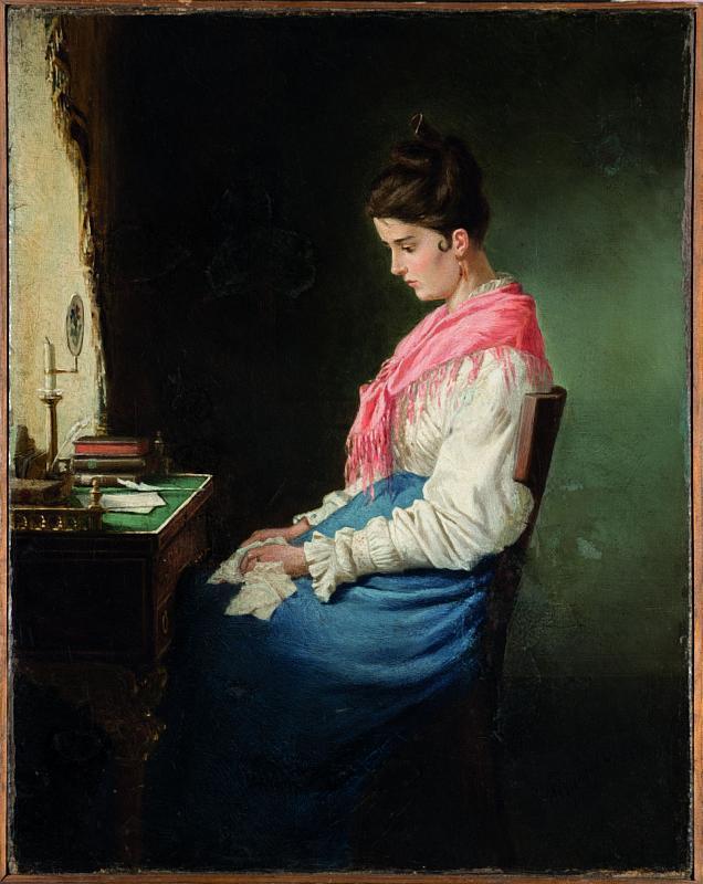Михаил Петрович Клодт. Девушка за письменным столом. 1874