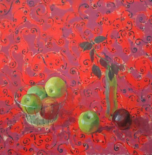 Негга Тесфае Ацбеха. Красный натюрморт. Холст, масло. 2007
