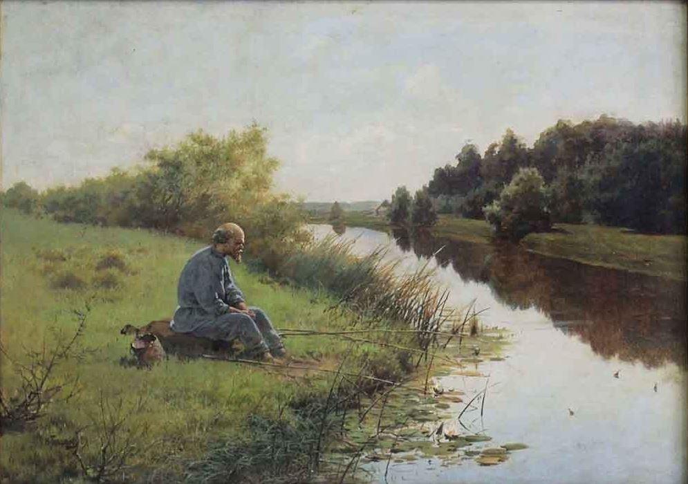 Николай Богатов - Рыбак на берегу реки, 1889