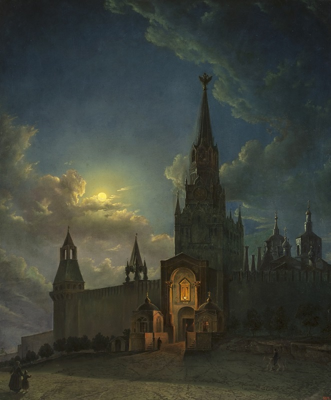 К.И. Рабус - Спасские ворота в Москве, 1854