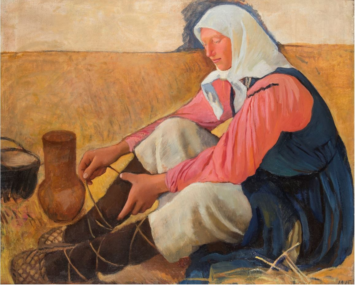 Зинаида Серебрякова - Обувающаяся крестьянка, 1915