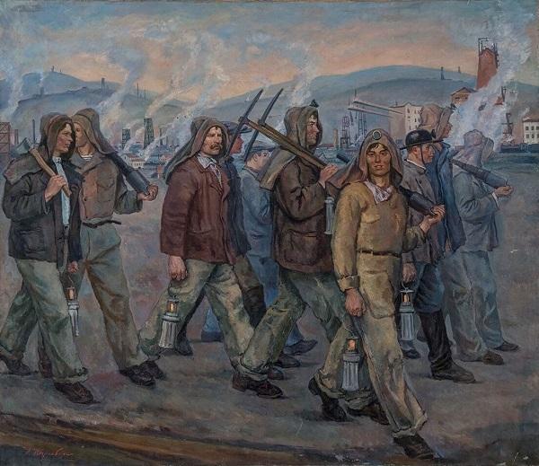 Амшей Нюренберг (1887–1979). Стахановцы Кузбасса. Триптих. 1937