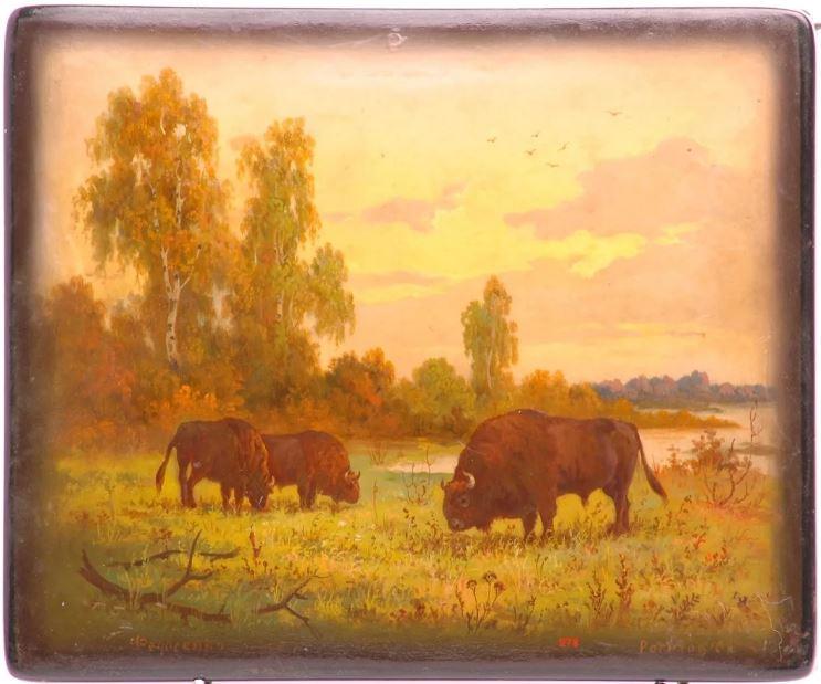 Шкатулка«Зубры». 1958Автор живописи С. П. Рогатов
