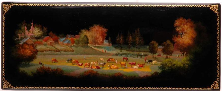 Шкатулка «Федоскино». 1958Автор живописи В. И. Лунев
