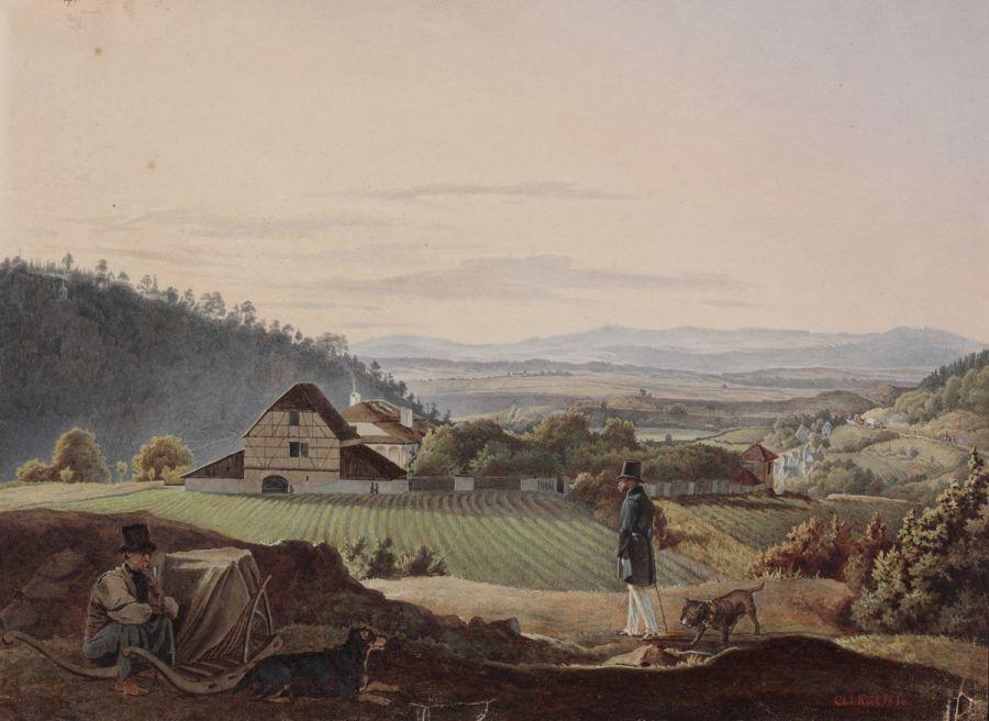 Л. И. Киль - Великий князь Михаил Павлович на прогулке. 1836.