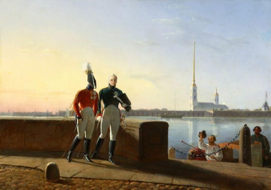 Л. И. Киль. - Император Александр I и великий князь Константин Павлович на прогулке. 1843.