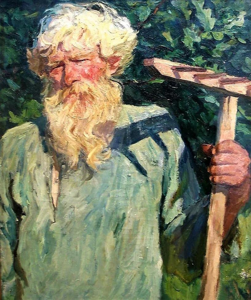 Аркадий Пластов - Петр Григорьевич Черняев с граблями,1940