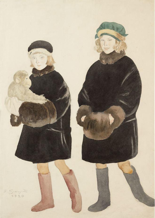 Кустодиев Б. Дети Шаляпина (Марфа и Марина). 1920.