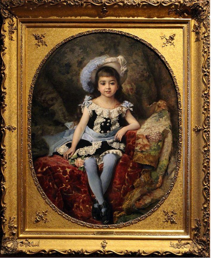 Константин Маковский - Портрет девочки в шляпке со страусовым пером, 1879