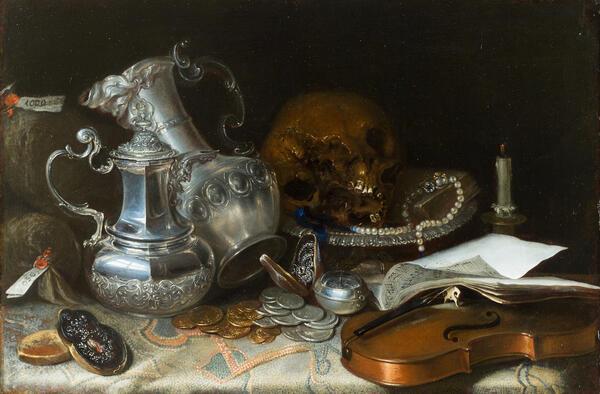 Автор неизвестен - Натюрморт со скрипкой и серебряной посудой, конец XVII века