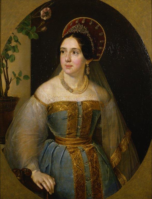 Тропинин Василий Андреевич - Портрет Екатерины Ивановны Карзинкиной в русском наряде, 1840-1850