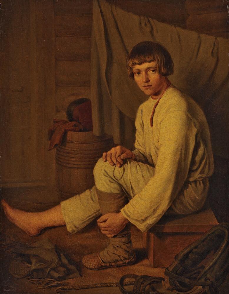 К. А. Зеленцов - Мальчик-крестьянин, надевающий лапти, не позднее 1826
