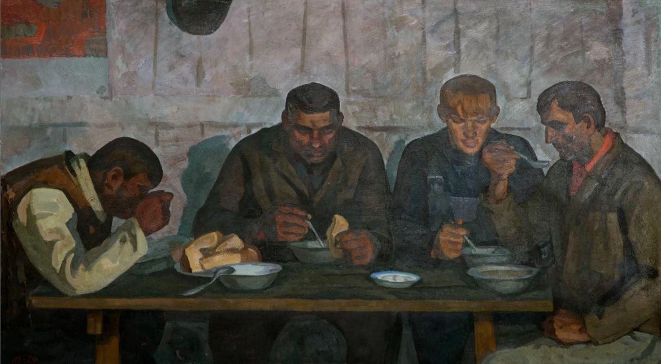 Попандопуло Л.Ф. Весной (Трактористы колхоза Кубань).1974