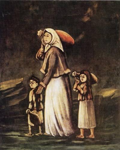 Картина грузинского художника Нико Пиросмани Женщина с детьми, идущие за водой