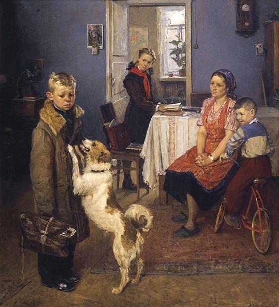 Картина советского художника Федора Решетникова Опять двойка!