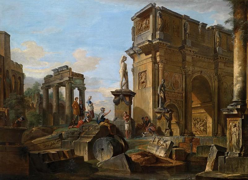 Джованни Паоло Панини - Каприччо с римскими руинами и аркой Константина, 1731