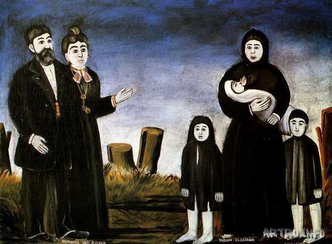 Картина грузинского художника Нико Пиросмани Бездетный миллионер и бедная с детьми