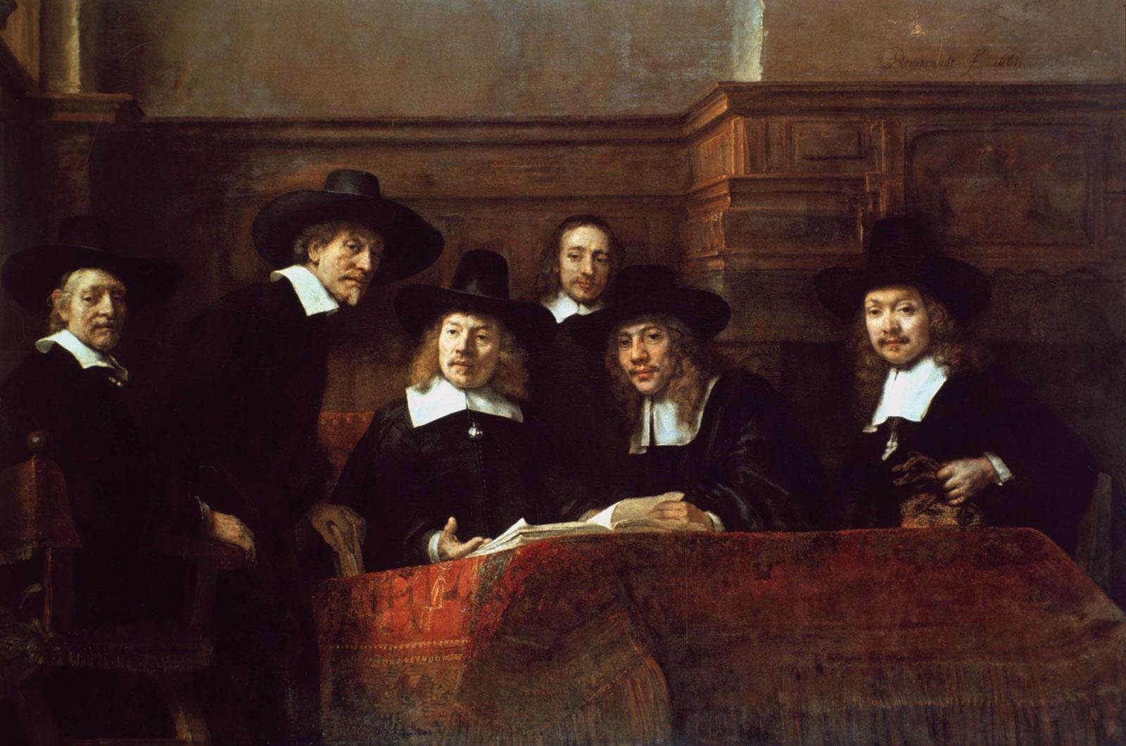 Рембрандт групповой портрет членов ткацкого цеха Амстердама
