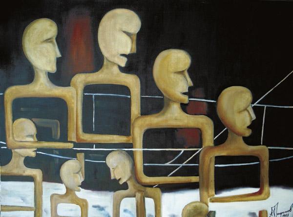 Картина современного российского художника-авангардиста Александра Трифонова Родители и дети