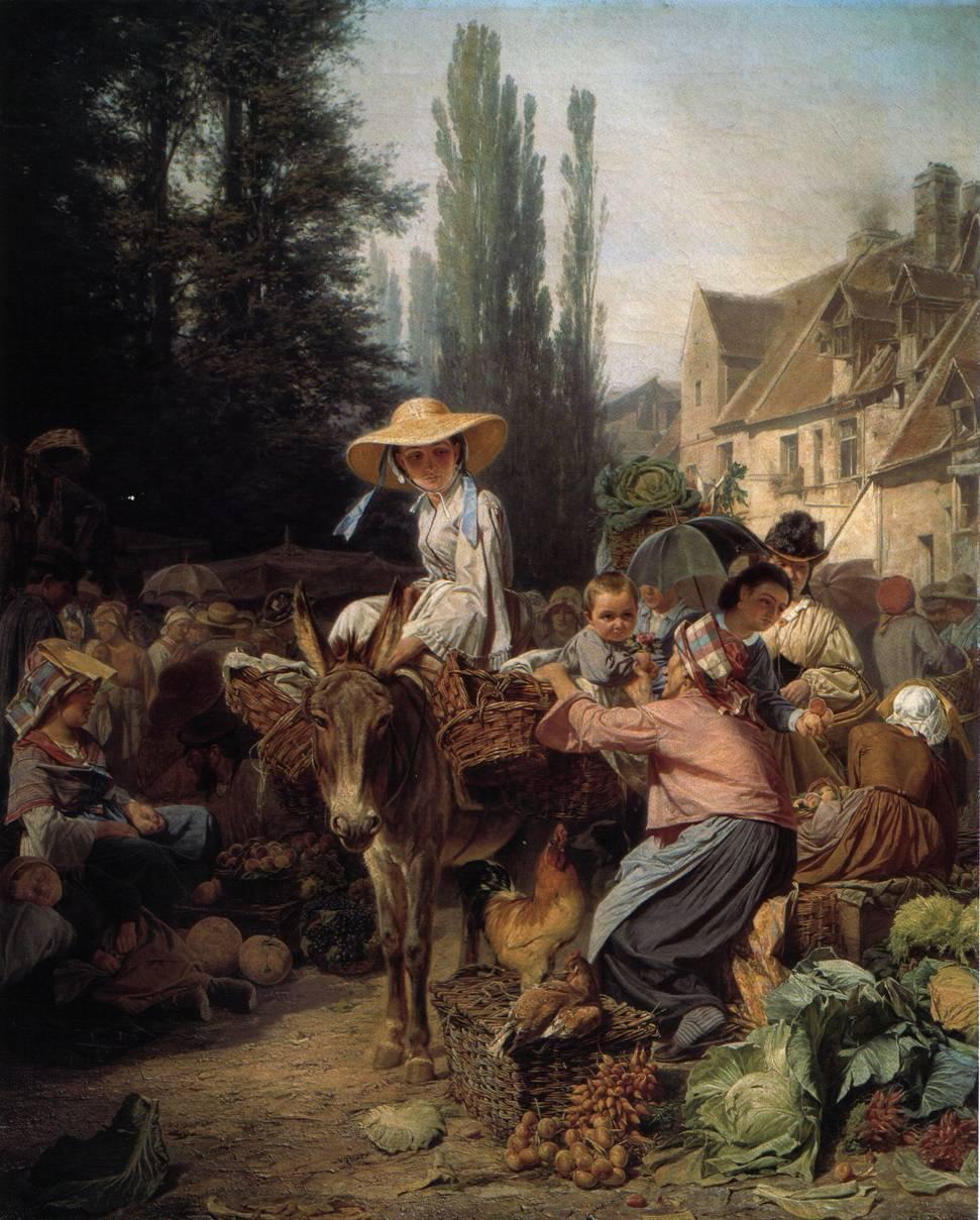 Картина художника Петра Грузинского Рынок в Фонтенбло