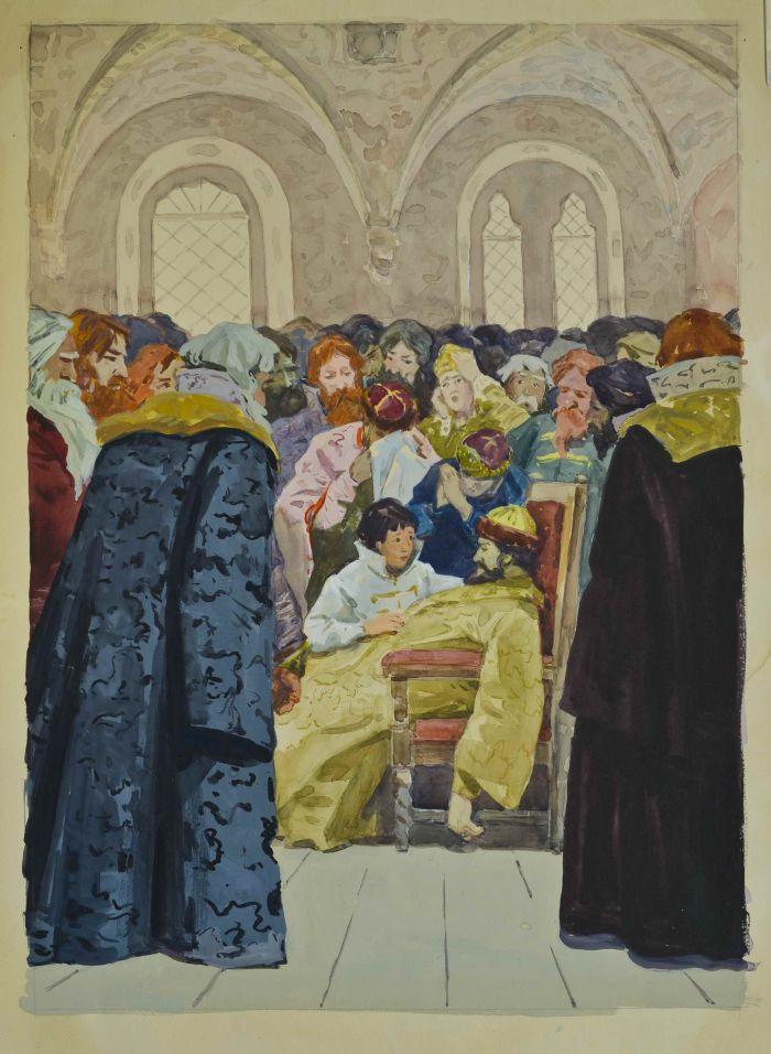 Бубнов А.П.  Иллюстрация к произведению А.С. Пушкина «Борис Годунов»,  1960 г., бум., акв., гуашь 44х32 см