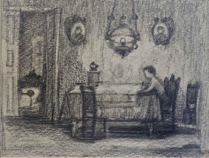 Каплан А.Л.  Иллюстрация «Мальчик за столом», 1947г.  бум., карандаш 11,5х15 см