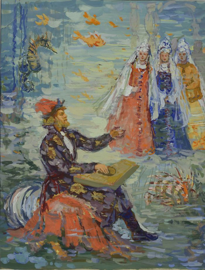 Трошина-Дейнеко Е.Н.  Иллюстрация к былине «Садко», 1950-е гг., бум.,гуашь, 50х39 см