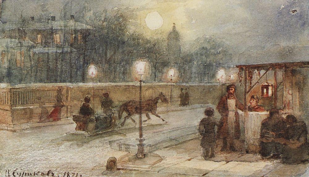Картина русского художника Василия Сурикова Вечер в Петербурге