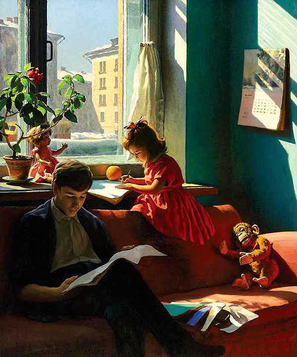 Картина советсткого художника Александра Ивановича Лактионова В гостях у внуков