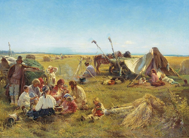 Картина русского художника Константина Маковского Крестьянский обед в поле