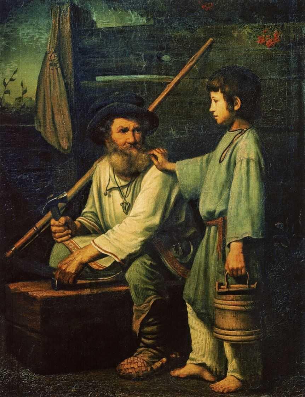 Картина русского художника Василия Мохначева Русский крестьянин с мальчиком