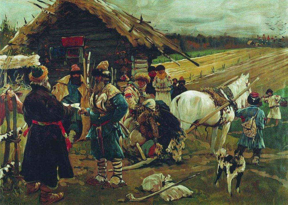 Картина русского художника Сергея Иванова Юрьев день