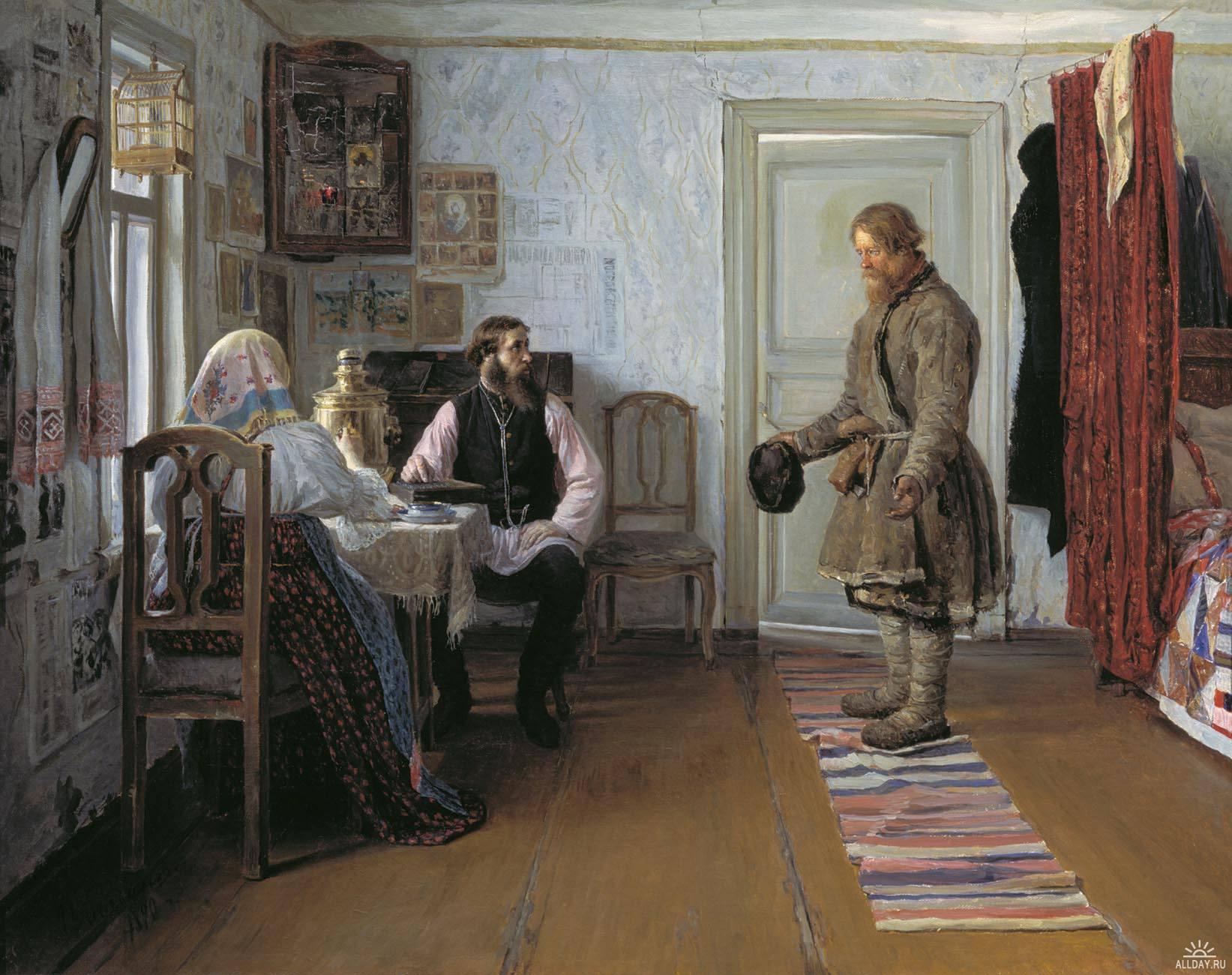 Картина русского художника Богданова Ивана Петровича За расчетом