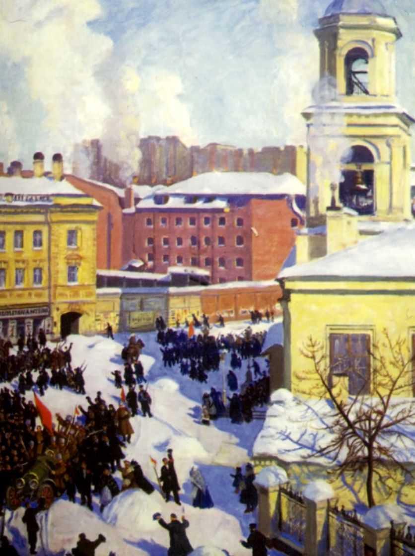 Картина художника Бориса Кустодиева 27 февраля 1917 года