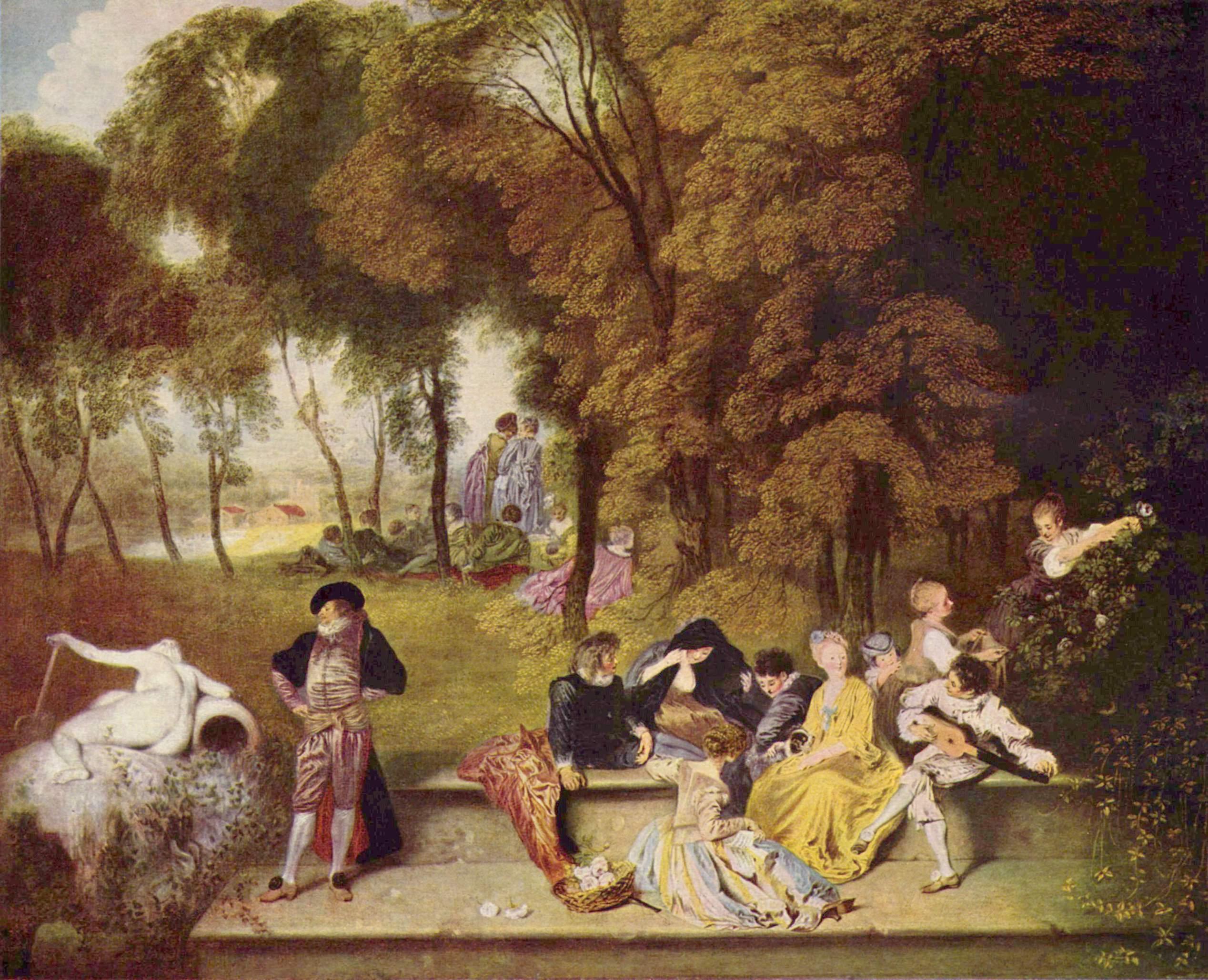 Картина художника Антуана Ватто Общество в парке