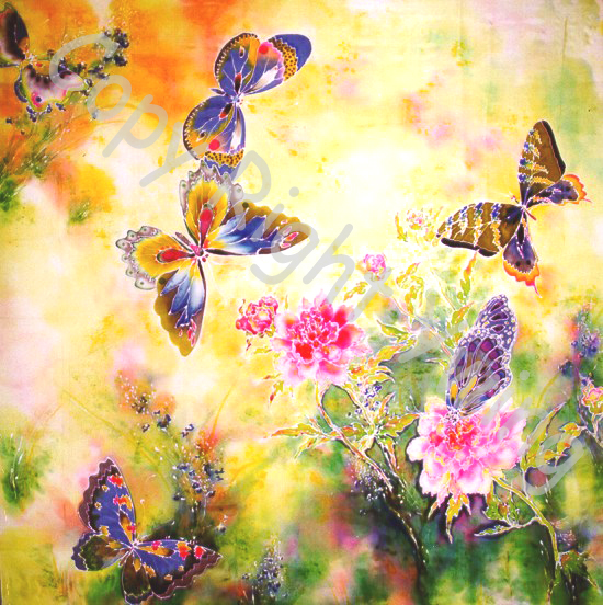 Ywing Ming Jyang (Китай) картина на шёлке Бабочки и пионы