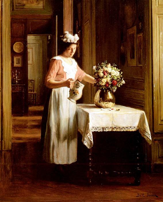 Картина французского художника Франка-Антуана Бейля Горничная, поливающая цветы