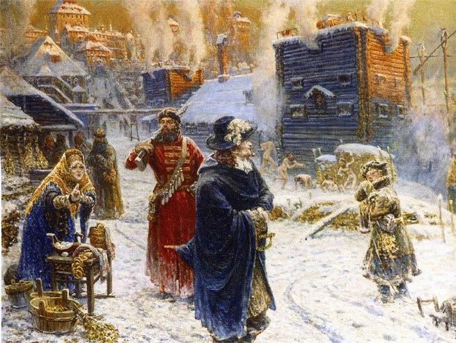 Картина художника Вячеслава Павловича Рассохина Бани на Неглинной