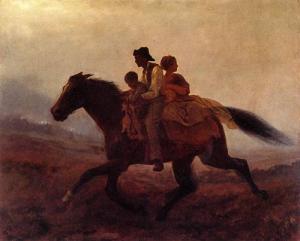 Картина художника Истмана Джонсона Бегом к свободе беглые рабы