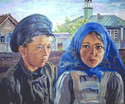Картина художника Давида Бурлюка Мальчик и девочка