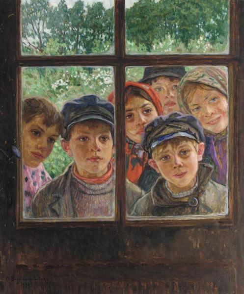 Картина художника автор Николай Петрович Богданов-Бельский Дети в окне