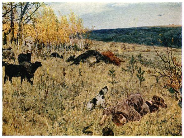 Картина художника Аркадия Платова Фашист пролетел