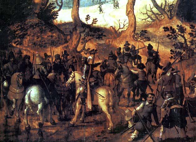 Старинная картина маслом Засада отряда Рели во время подавления восстания в Ирландии